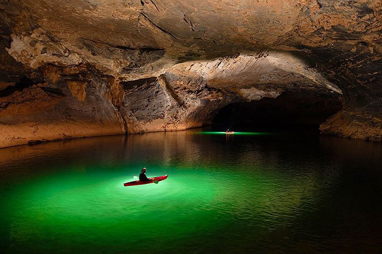 Exploring a Giant River Cave by Kayak